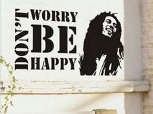 Don't worry be happy muursticker